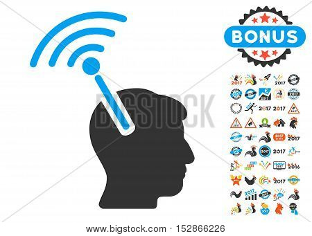 Radio Neural Interface pictograph with bonus 2017 new year icon set. Vector illustration style is flat iconic symbols, modern colors, rounded edges.