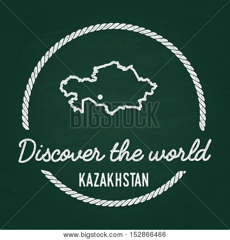 White Chalk Texture Hipster Insignia With Republic Of Kazakhstan Map On A Green Blackboard. Grunge R