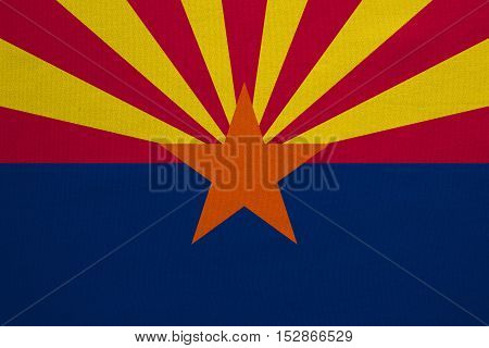 Flag of the US state of Arizona. American patriotic element. USA banner. United States of America symbol. Arizonian official flag with real detailed fabric texture illustration. Accurate size colors