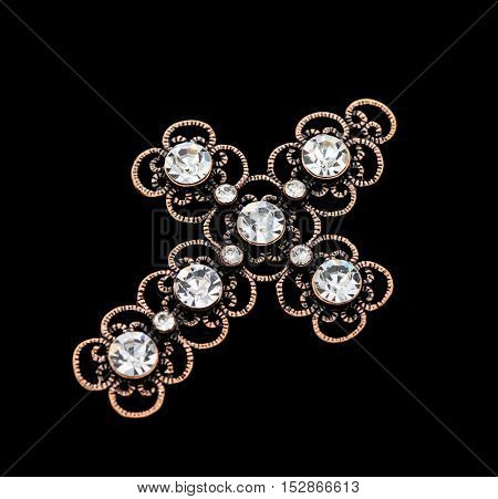 Vintage pendant isolated on black background