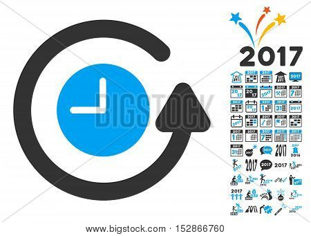Restore Clock pictograph with bonus 2017 new year clip art. Vector illustration style is flat iconic symbols, modern colors, rounded edges.