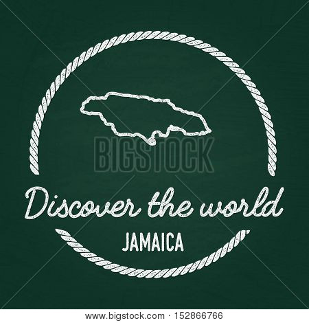 White Chalk Texture Hipster Insignia With Jamaica Map On A Green Blackboard. Grunge Rubber Seal With