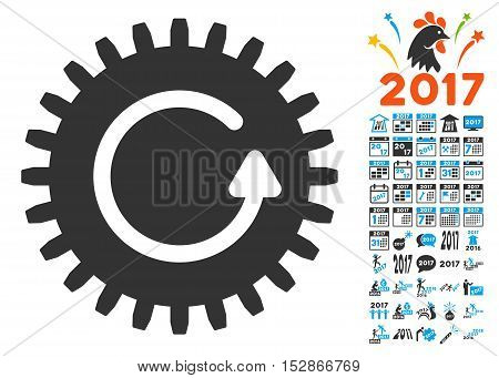 Rotate Cog icon with bonus 2017 new year symbols. Vector illustration style is flat iconic symbols, modern colors, rounded edges.