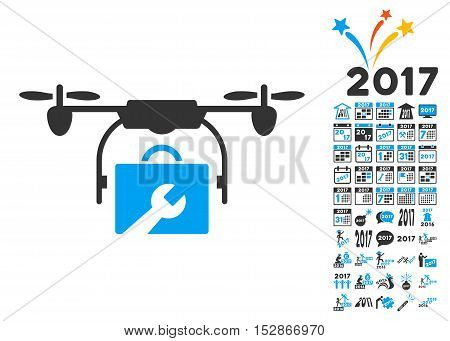 Service Drone pictograph with bonus 2017 new year icon set. Vector illustration style is flat iconic symbols, modern colors, rounded edges.