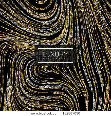 Luxury festive background with shiny silver and golden glitters. Vector illustration of glittering swirled stripes texture. Wallpaper or package design pattern template
