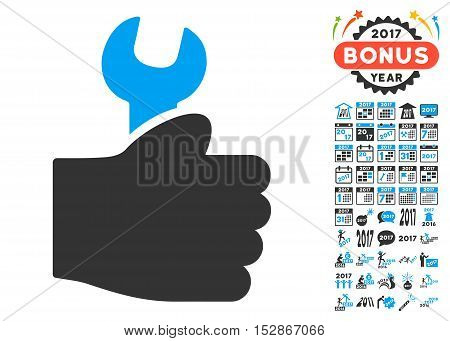 Service Hand pictograph with bonus 2017 new year pictures. Vector illustration style is flat iconic symbols, modern colors, rounded edges.