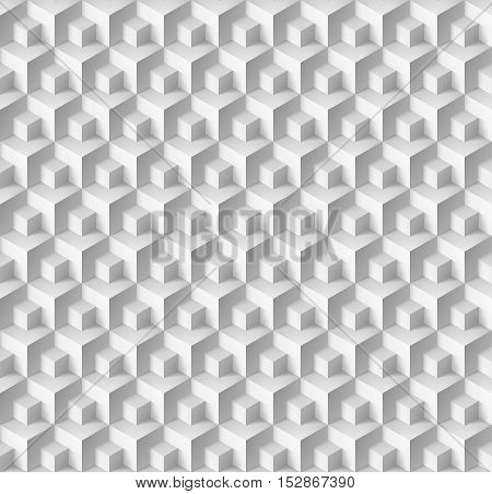 Abstract geometric background with cubes in white color