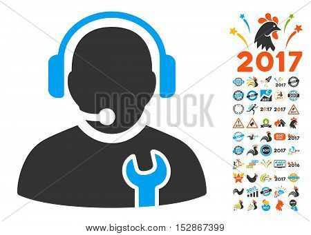 Service Operator icon with bonus 2017 new year icon set. Vector illustration style is flat iconic symbols, modern colors, rounded edges.