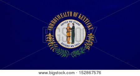 Flag of the US state of Kentucky. American patriotic element. USA banner. United States of America symbol. Kentuckian official flag real detailed fabric texture illustration. Accurate size colors