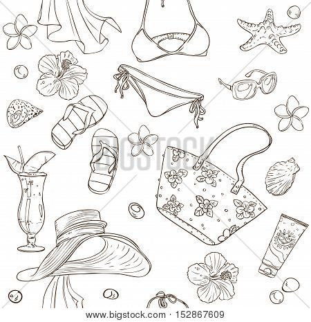 Seamless pattern on a beach theme - goggles a swimsuit clams on a white background