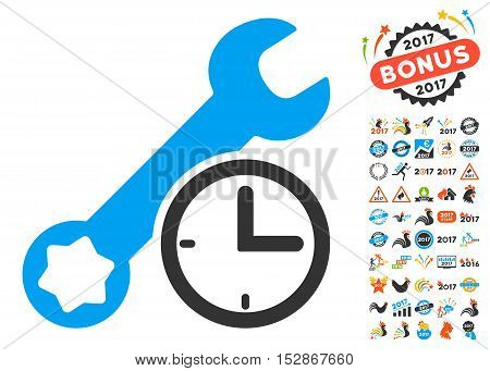 Service Time pictograph with bonus 2017 new year graphic icons. Vector illustration style is flat iconic symbols, modern colors, rounded edges.