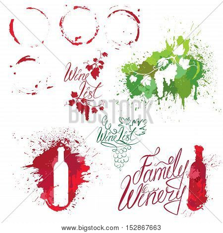 Set of elements in grunge style with Bunch of grapes bottle wine stains isolated on white background. Handdrawn text Wine list Family Winery. Design for restaurant bar cafe menu or label.