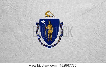 Flag of the US state of Massachusetts. American patriotic element. USA banner. United States of America symbol. Massachusettsan official flag detailed fabric texture illustration. Accurate size color