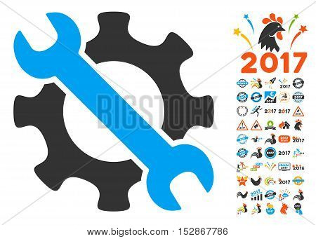 Service Tools pictograph with bonus 2017 new year images. Vector illustration style is flat iconic symbols, modern colors, rounded edges.