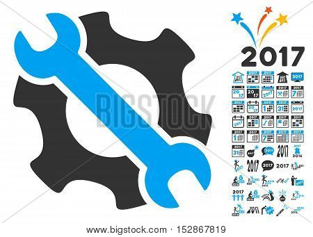 Service Tools pictograph with bonus 2017 new year design elements. Vector illustration style is flat iconic symbols, modern colors, rounded edges.