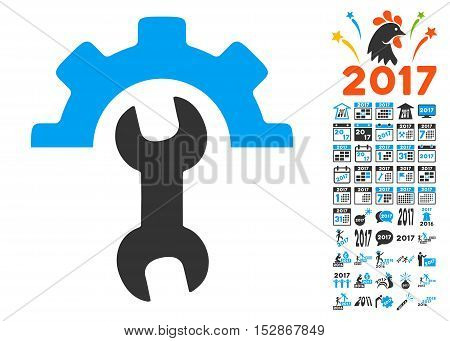 Service Tools pictograph with bonus 2017 new year icon set. Vector illustration style is flat iconic symbols, modern colors, rounded edges.