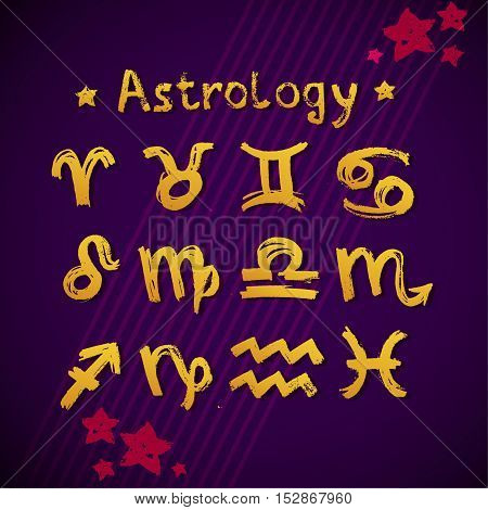 Signs of the Zodiac. Star Violet Background