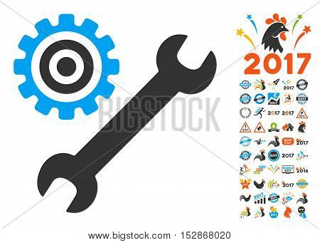 Service Tools icon with bonus 2017 new year images. Vector illustration style is flat iconic symbols, modern colors, rounded edges.