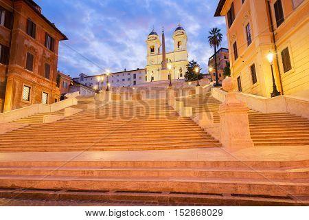 Spanish Steps illuminated at night, Rome, Italy