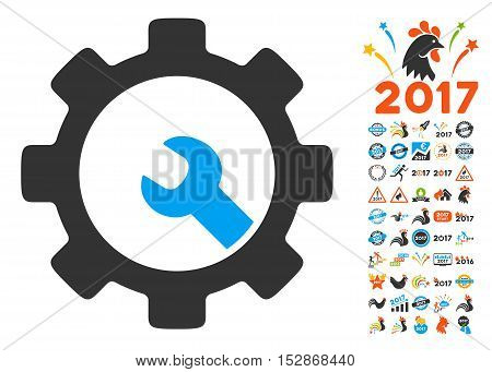 Service Tools pictograph with bonus 2017 new year clip art. Vector illustration style is flat iconic symbols, modern colors, rounded edges.