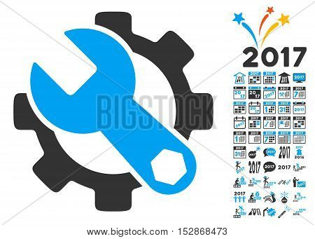 Service Tools pictograph with bonus 2017 new year pictograph collection. Vector illustration style is flat iconic symbols, modern colors, rounded edges.
