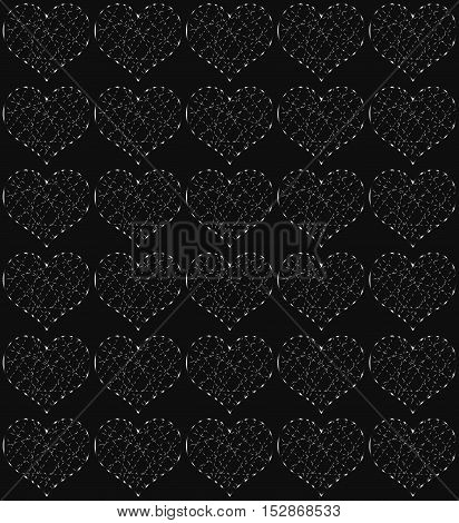 Silver hearts, seamless periodic pattern, love vector background
