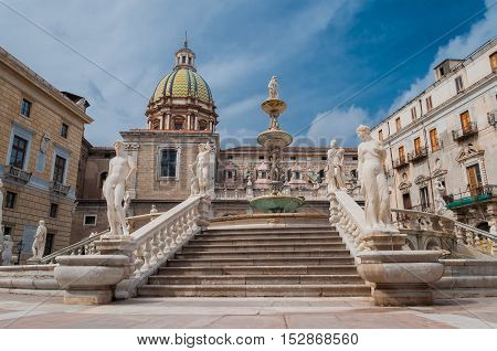 Piazza Pretoria is one of the Central squares of Palermo Italy.