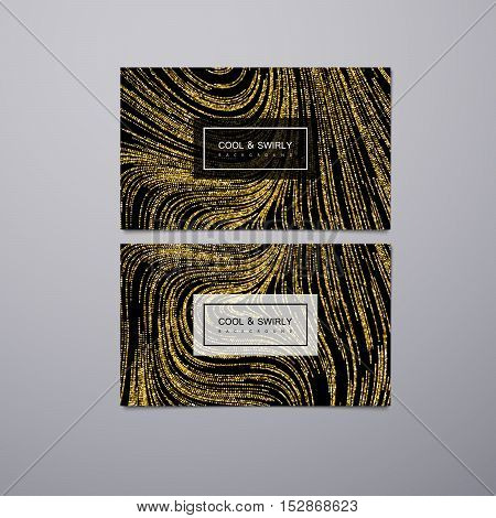 Greeting, invitation or business cards design template with swirled glittering stripes. Vector illustration of golden glitter background. Marble or acrylic texture imitation.