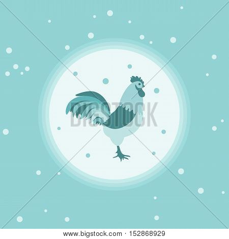 Silhouette Of A Rooster In A Circle On A Colored Background With Snowfall In Gentle Tones.