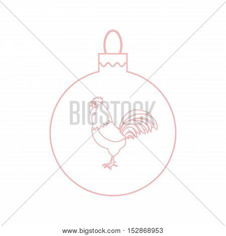 Cute Picture With Colour Christmas Ball With Rooster And Snowfalls Made In Line Style.