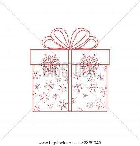 Vector Illustration Of Gift Box Decorated Snowflakes On White Background Made In Line Style.