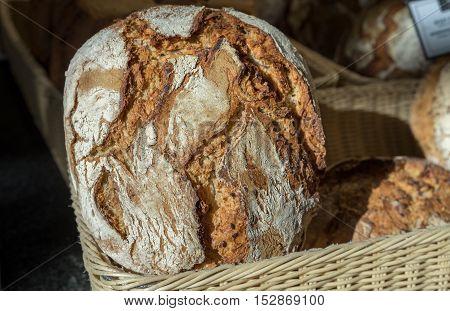Round Dark bread for sale at farmers market