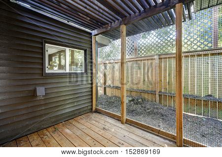 Interior Of Empty Animal Or Bird Shed