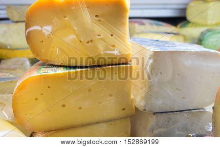 Lot Of Cheese At Chees Store. Israel
