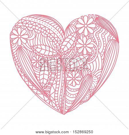 pink heart with flowers and leaves decoration background. vector illustration