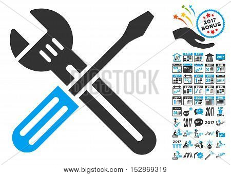 Spanner and Screwdriver icon with bonus 2017 new year pictograms. Vector illustration style is flat iconic symbols, modern colors, rounded edges.