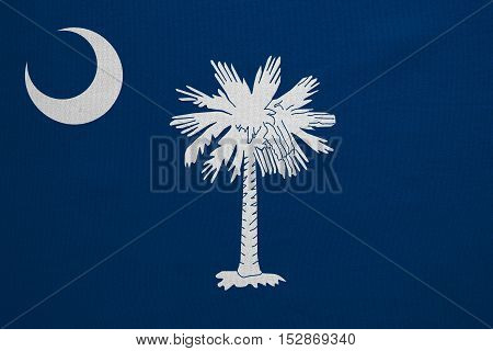 Flag of the US state of South Carolina. American patriotic element. USA banner. United States of America symbol. South Carolinian official flag detailed fabric texture illustration Accurate size color