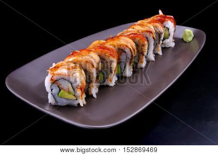 Close Up Japanese Eel Sushi Roll