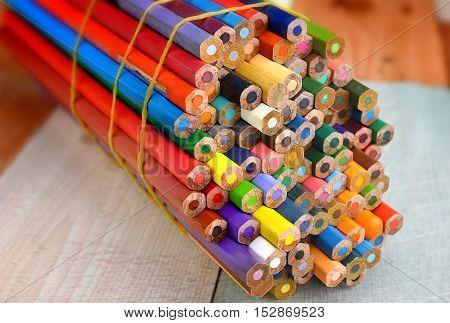 The Bundle Of Colour Pencils Background