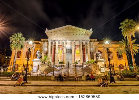 PALERMO ITALY - SEPTEMBER 6 2015: The Teatro Massimo Vittorio Emanuele is an opera house and opera company located on the Piazza Verdi in Palermo Sicily Italy.
