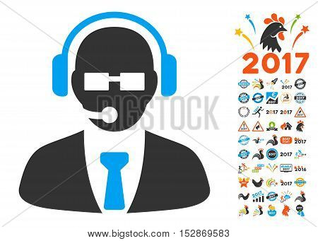 Support Manager icon with bonus 2017 new year pictures. Vector illustration style is flat iconic symbols, modern colors, rounded edges.