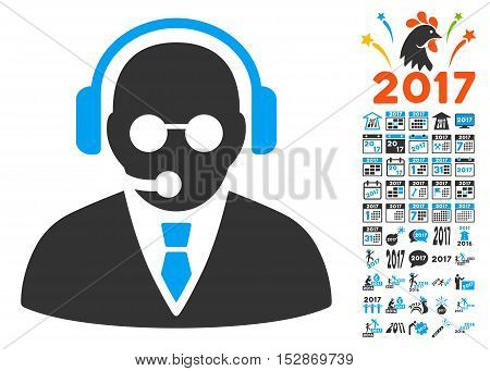 Support Manager pictograph with bonus 2017 new year icon set. Vector illustration style is flat iconic symbols, modern colors, rounded edges.