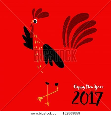 Vector Illustration Of Rooster, Symbol Of 2017 On The Chinese Calendar. Silhouette Of Red Cock.image