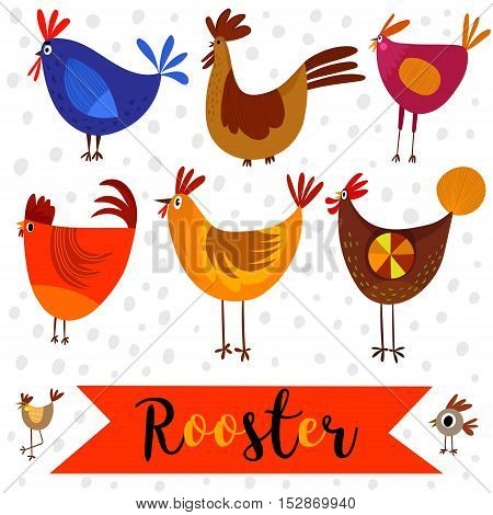 Set Roosters For Children. The Character Of Happy, Bright Birds. Traditional Symbols Of Chinese New