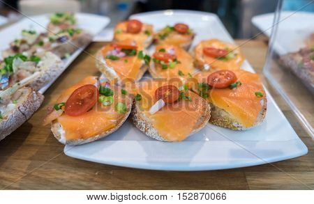 Canapes With Salmon And Tomato Cherries For Sale