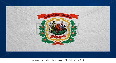 Flag of the US state of West Virginia. American patriotic element. USA banner. United States of America symbol. West Virginian official flag detailed fabric texture illustration. Accurate size color