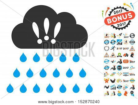 Thunderstorm Rain Cloud icon with bonus 2017 new year images. Vector illustration style is flat iconic symbols, modern colors, rounded edges.