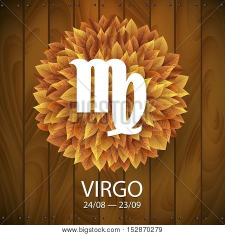 Sign of the zodiac. Virgo horoscope. white sign with a circle of autumn leaves. Wooden planks background.