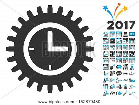 Time Options icon with bonus 2017 new year graphic icons. Vector illustration style is flat iconic symbols, modern colors, rounded edges.