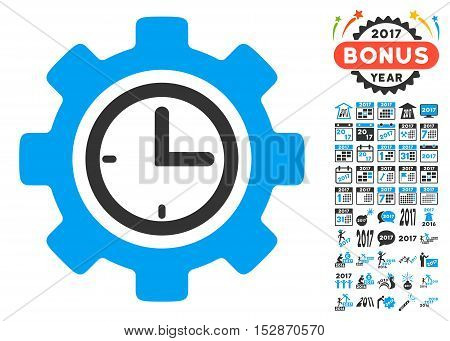 Time Setup Gear icon with bonus 2017 new year pictograms. Vector illustration style is flat iconic symbols, modern colors, rounded edges.